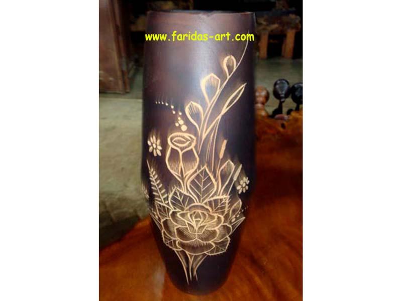 Faridas Art Jual Ukiran Kayu Jati Furniture Relief Wooden Craft Vas Bunga Lombok